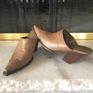 Shoes - Nine West Wheat Brown Western Mule